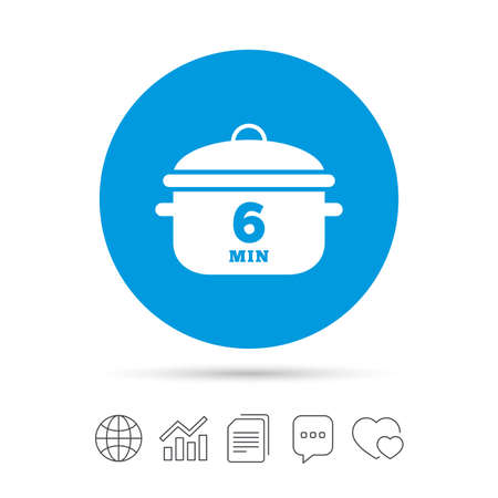 Boil 6 minutes. Cooking pan sign icon. Stew food symbol. Copy files, chat speech bubble and chart web icons. Vector