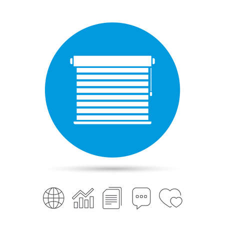 Louvers sign icon. Window blinds or jalousie symbol. Copy files, chat speech bubble and chart web icons. Vector Ilustracja