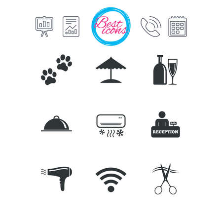 Presentation, report and calendar signs. Hotel, apartment services icons. Wifi internet sign. Pets allowed, alcohol and air conditioning symbols. Classic simple flat web icons. Vector