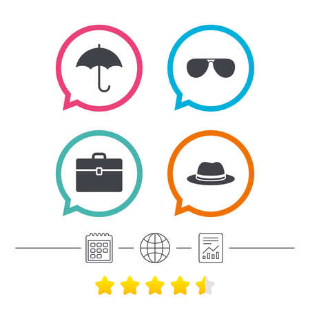 Clothing accessories icons. Umbrella and sunglasses signs. Headdress hat with business case symbols. Calendar, internet globe and report linear icons. Star vote ranking. Vector Illustration
