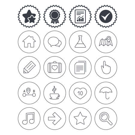 medal like: Report, check tick and award signs. Universal icons. House building, speech bubbles and first aid box. Copy documents, like counter and hot coffee drink. Map pointer, arrow and favorite star. Vector