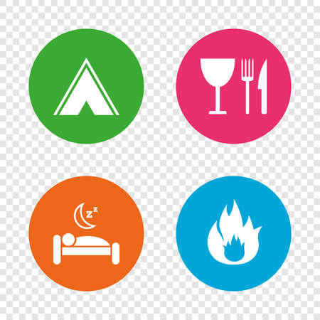 Food, sleep, camping tent and fire icons. Knife, fork and wineglass. Hotel or bed and breakfast. Road signs. Round buttons on transparent background. Vector