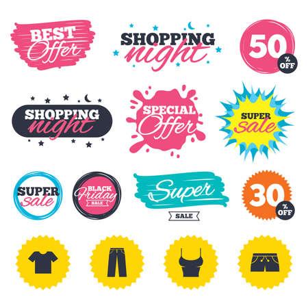 Verkoop winkel banners. Speciale aanbieding splash. Kleren pictogrammen. T-shirt en broek met korte broekborden. Zwembroek symbool. Web-insignes en stickers. Beste aanbod. Vector Stock Illustratie