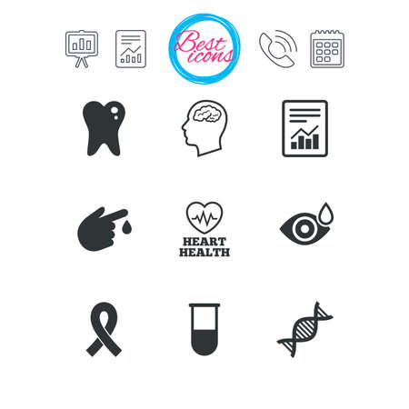 Presentation, report and calendar signs. Medicine, medical health and diagnosis icons. Blood test, dna and neurology signs. Tooth, report symbols. Classic simple flat web icons. Vector Ilustrace