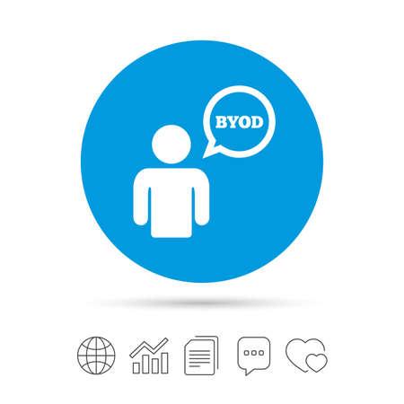 BYOD 記号アイコン。独自のデバイスのシンボルをもたらします。吹き出しを持つユーザー。ファイルのコピー、音声バブルとグラフ web アイコンをチ