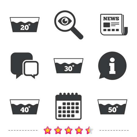 アイコンを洗います。20、30、40、50 度のシンボルで洗濯機。ランドリーの洗濯場のサイン。新聞・情報・ カレンダーのアイコン。拡大鏡、チャット