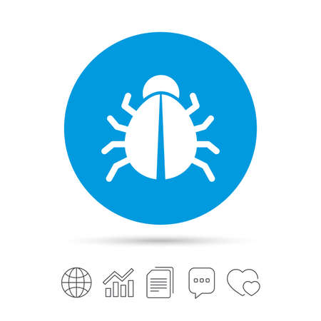 Bug sign icon. Virus symbol. Software bug error. Disinfection. Copy files, chat speech bubble and chart web icons. Vector Çizim