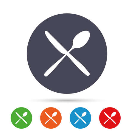 Eat sign icon. Cutlery symbol. Knife and spoon crosswise. Round colourful buttons with flat icons. Vector Illustration