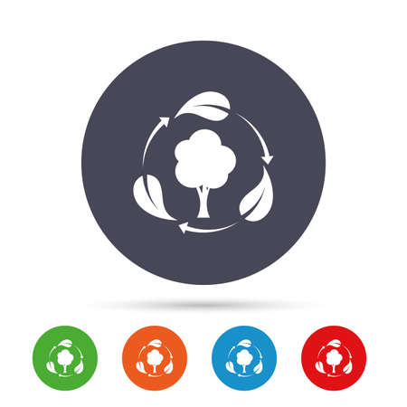 Fresh air sign icon. Forest tree with leaves symbol. Round colourful buttons with flat icons. Vector