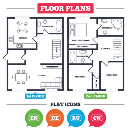 Architecture plan with furniture. House floor plan. Language icons. EN, DE, RU and CN translation symbols. English, German, Russian and Chinese languages. Kitchen, lounge and bathroom. Vector