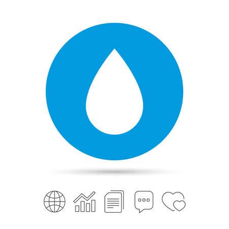 워터 드롭 기호 아이콘입니다. 눈물 기호입니다. 파일 복사, 연설 거품 채팅 및 차트 웹 아이콘. 벡터 일러스트