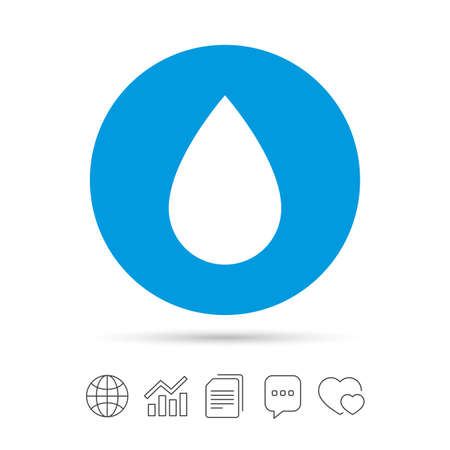 Water drop sign icon. Tear symbol. Copy files, chat speech bubble and chart web icons. Vector