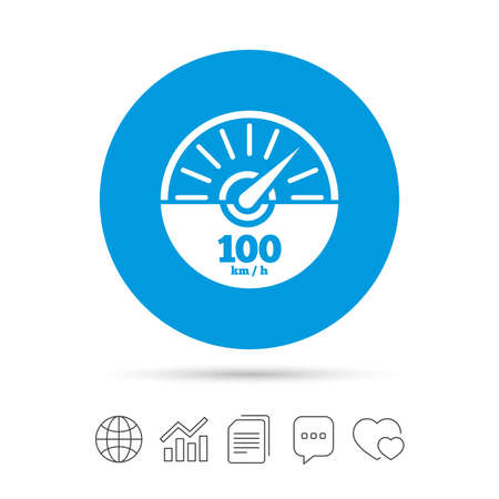Tachometer sign icon. 100 km per hour revolution-counter symbol. Car speedometer performance. Copy files, chat speech bubble and chart web icons. Vector