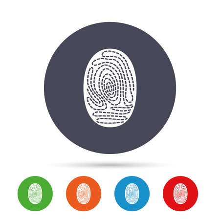 Fingerprint sign icon. Identification or authentication symbol. Round colourful buttons with flat icons. Vector