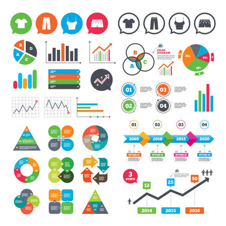 Business charts. Growth graph. Clothes icons. T-shirt and pants with shorts signs. Swimming trunks symbol. Market report presentation. Vector
