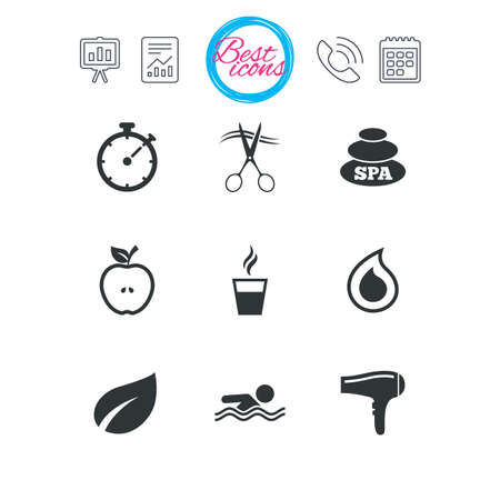 Presentation, report and calendar signs. Spa, hairdressing icons. Swimming pool sign. Water drop, scissors and hairdryer symbols. Classic simple flat web icons. Vector