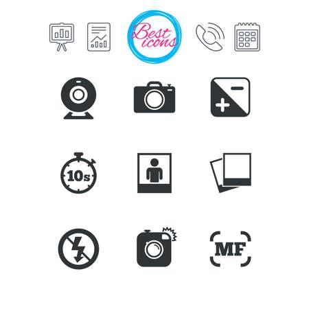 Präsentations-, Berichts- und Kalenderschilder. Foto, Video-Icons. Webkamera, Fotos und Rahmenzeichen. Keine Blitz-, Timer- und Portrait-Symbole. Klassische einfache flache Web-Icons. Vektor Standard-Bild - 77846075