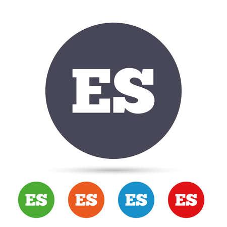 Spaanse taal teken pictogram. ES-vertaalsymbool. Ronde kleurrijke knoppen met plat pictogrammen. Vector Stock Illustratie