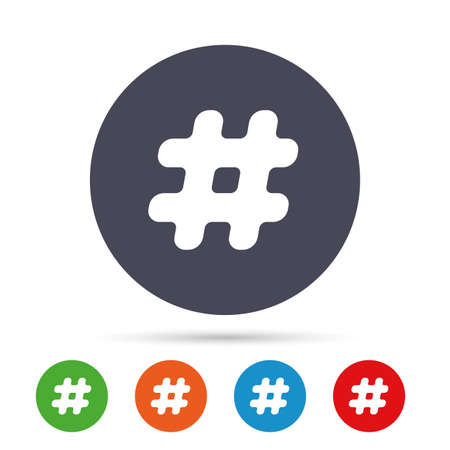 tweet icon: Hashtag sign icon. Social media symbol. Round colourful buttons with flat icons. Vector Illustration