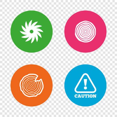 Holz und sah Kreis Rad-Symbole. Achtung Gefahrensymbol. Sägewerk oder Holzfabrik Zeichen. Runde Buttons auf transparentem Hintergrund. Vektor Standard-Bild - 77846030