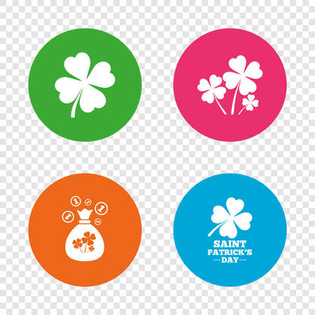 Saint Patrick day icons. Money bag with clovers and coins sign. Symbol of good luck. Round buttons on transparent background. Vector