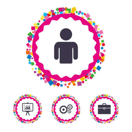 Web buttons with confetti pieces. Business icons. Human silhouette and presentation board with charts signs. Case and gear symbols. Bright stylish design. Vector Illustration