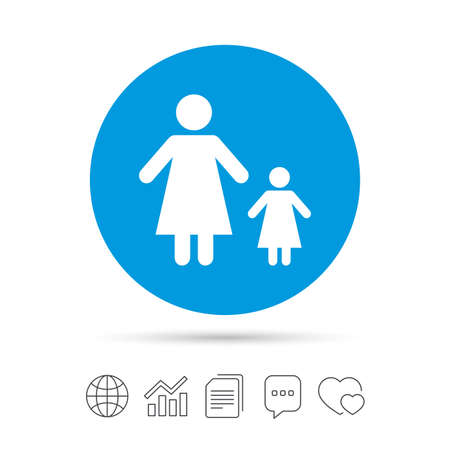 One-parent family with one child sign icon. Mother with daughter symbol. Copy files, chat speech bubble and chart web icons. Vector