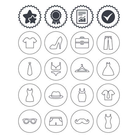 Report, check tick and award signs. Clothes and accessories icons. Shirt with tie, pants and woman dress symbols. Hat, hanger and glasses thin outline signs. Underwear and maternity clothes. Vector