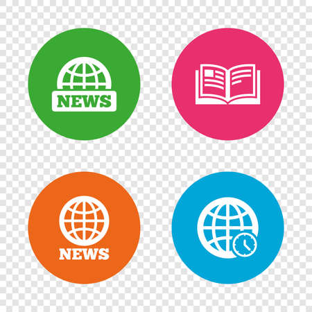 News icons. World globe symbols. Open book sign. Education literature. Round buttons on transparent background. Vector 向量圖像