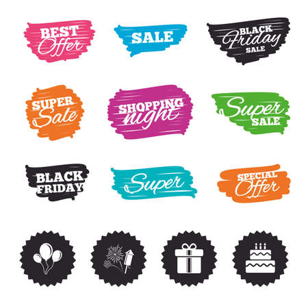 Ink brush sale banners and stripes. Birthday party icons. Cake and gift box signs. Air balloons and fireworks symbol. Special offer. Ink stroke. Vector