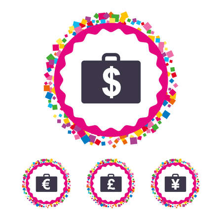 Web buttons with confetti pieces. Businessman case icons. Cash money diplomat signs. Dollar, euro and pound symbols. Bright stylish design. Vector