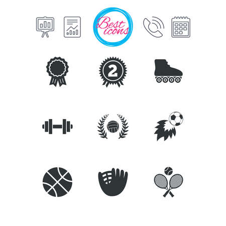 Presentation, report and calendar signs. Sport games, fitness icons. Football, basketball and volleyball signs. Dumbbell, baseball and winner award symbols. Classic simple flat web icons. Vector