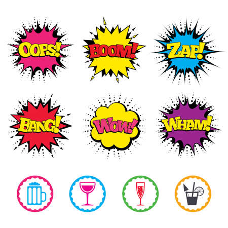 Comic Wow, Oops, Boom and Wham sound effects. Alcoholic drinks icons. Champagne sparkling wine with bubbles and beer symbols. Wine glass and cocktail signs. Zap speech bubbles in pop art. Vector