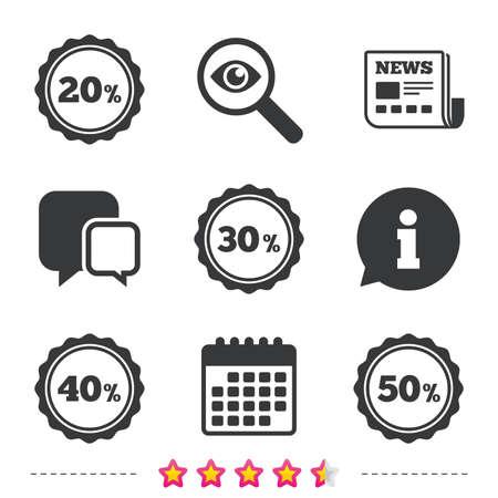 Verkoop kortingspictogrammen. Speciale aanbieding stempel prijsborden. 20, 30, 40 en 50 procent kortingssymbolen. Krant, informatie en kalenderpictogrammen. Onderzoek vergrootglas, chat-symbool. Vector