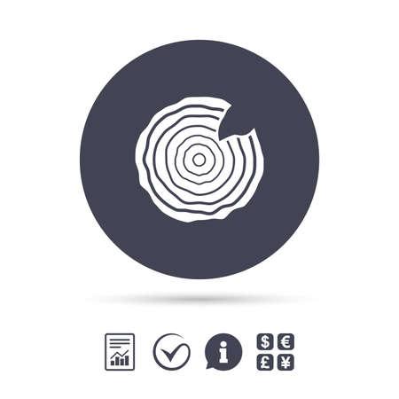 Holz Zeichen Symbol. Baumwachstum klingelt. Baumstamm Querschnitt mit Nick. Berichtsdokument, Information und Check-Tick-Icons. Geldwechsel. Vektor Standard-Bild - 77845817