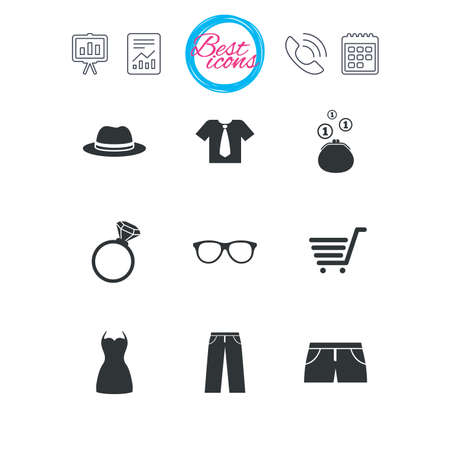 wedding dress: Presentation, report and calendar signs. Clothes, accessories icons. Shirt, glasses and hat signs. Wallet with cash coins symbols. Classic simple flat web icons. Vector Illustration