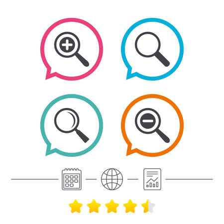 Magnifier glass icons. Plus and minus zoom tool symbols. Search information signs. Calendar, internet globe and report linear icons. Star vote ranking. Vector