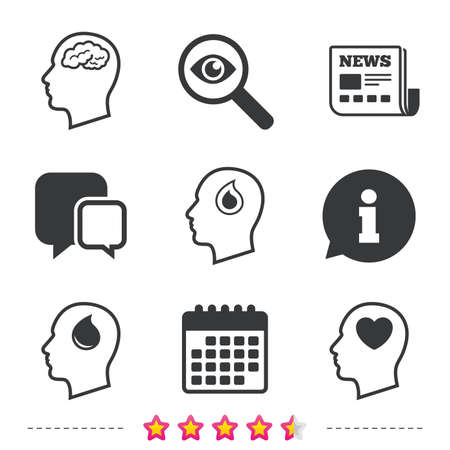 donating: Head with brain icon. Male human think symbols. Blood drop donation sign. Love heart. Newspaper, information and calendar icons. Investigate magnifier, chat symbol. Vector