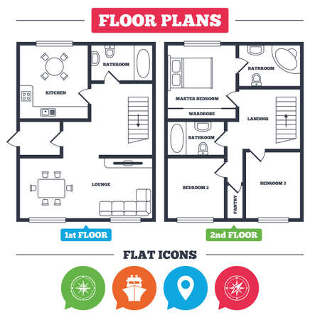 Architecture plan with furniture. House floor plan. Windrose navigation compass icons. Shipping delivery sign. Location map pointer symbol. Kitchen, lounge and bathroom. Vector
