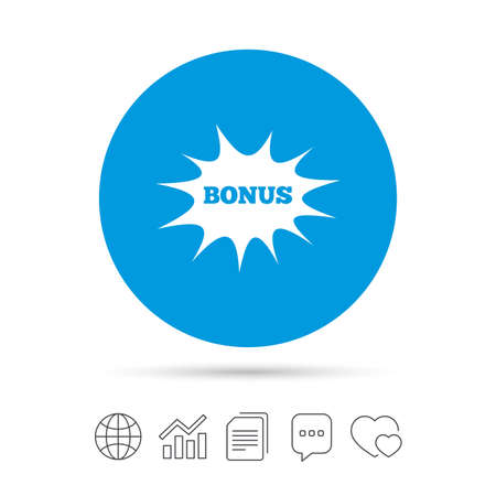 Bonus sign icon. Special offer explosion cartoon bubble symbol. Copy files, chat speech bubble and chart web icons. Vector Illustration