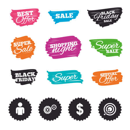 Ink brush sale banners and stripes. Business icons. Human silhouette and aim targer with arrow signs. Dollar currency and gear symbols. Special offer. Ink stroke. Vector