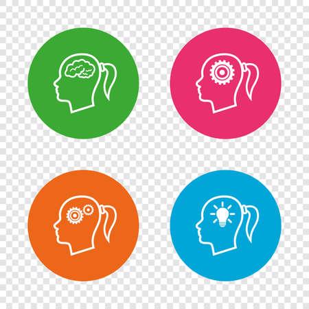 脳と考え頭ランプ電球アイコン。女性では、シンボルだと思います。歯車は歯車の兆候です。透明の背景上の丸いボタン。ベクトル  イラスト・ベクター素材
