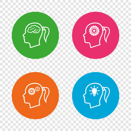 Head with brain and idea lamp bulb icons. Female woman think symbols. Cogwheel gears signs. Round buttons on transparent background. Vector