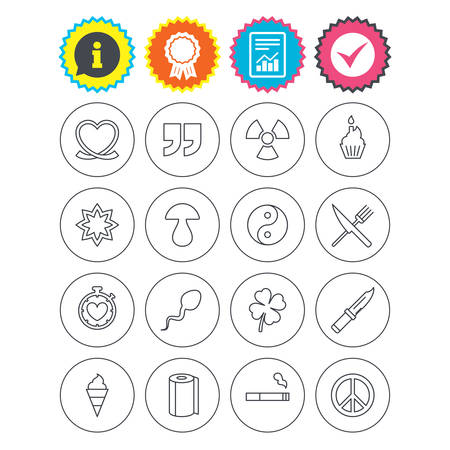 Report, information and award signs. Universal icons. Quotes, ribbon heart and cake. Clover, mushroom and ice cream. Smoking, knife and fork. Check tick symbol. Flat buttons. Vector