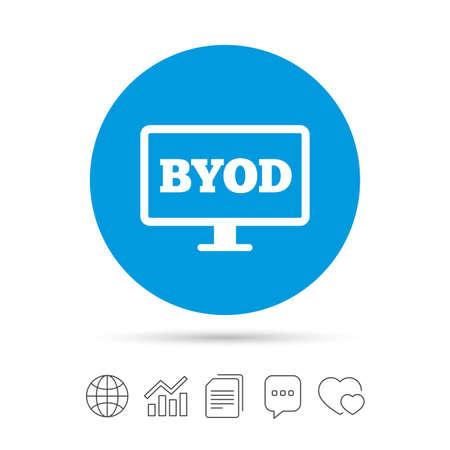 BYOD 記号アイコン。独自のデバイスのシンボルをもたらします。モニター テレビ アイコン。ファイルのコピー、音声バブルとグラフ web アイコンを  イラスト・ベクター素材