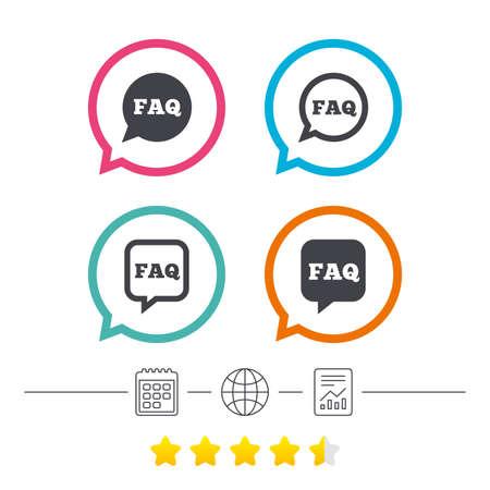 よくあるご質問情報アイコン。スピーチの泡のシンボルを助けます。円および正方形の兆候を話します。カレンダーは、インターネット世界とレポ