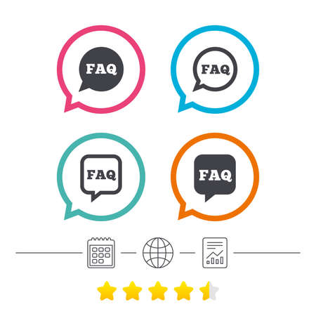 FAQ information icons. Help speech bubbles symbols. Circle and square talk signs. Calendar, internet globe and report linear icons. Star vote ranking. Vector
