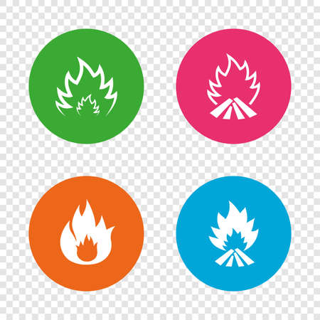 Fire flame icons. Heat symbols. Inflammable signs. Round buttons on transparent background. Vector