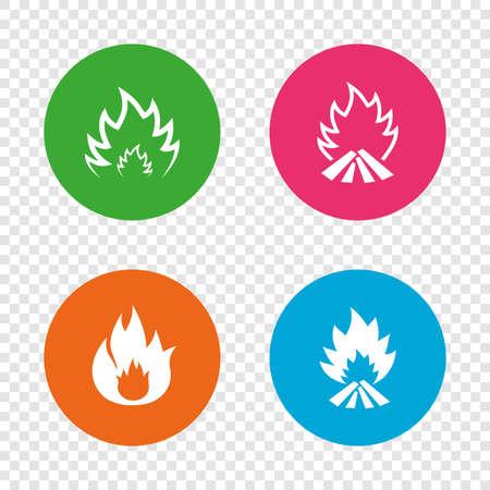 Icone di fiamma di fuoco. Simboli di calore. Segni infiammabili Pulsanti rotondi su sfondo trasparente. Vettore Archivio Fotografico - 78001677