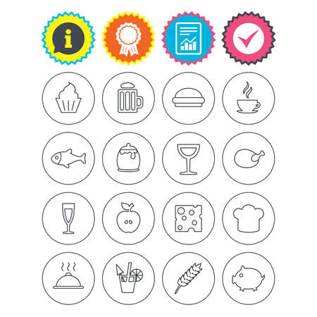 Report, information and award signs. Food and Drinks icons. Beer, coffee and cocktail symbols. Fish and pork meat, hamburger and cheese thin outline signs. Chief hat. Check tick symbol. Flat buttons